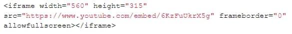стандартный код ютуба
