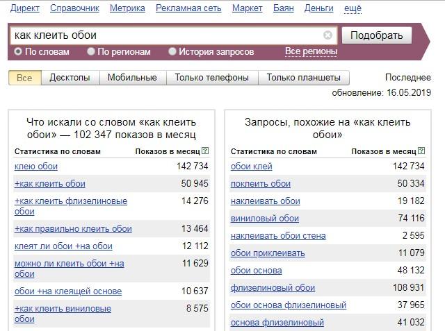 Сервис поиска ключевых слов - Яндекс Вордстат