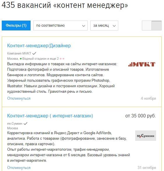 Зарплаты контент менеджера в России