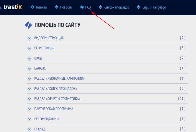 Раздел FAQ в Trastik.com