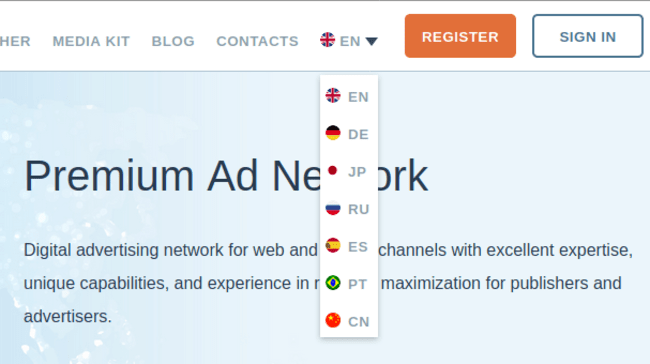 ИЗменение языка интерфеса сайта