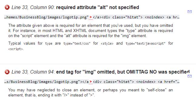 Список ошибок найденных валидатором в коде страницы