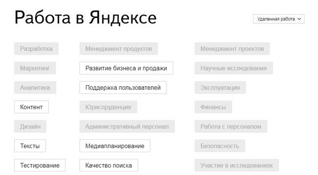 Вакансии удаленной работы в Яндекс